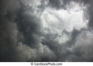 tempestuoso, cielo,