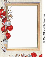 Christmas frame on the background of old paper