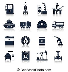 Oil Industry Icons Black - Oil industry diesel canister fuel...