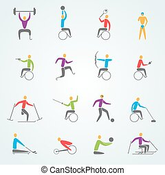 Disabled Sports Icons Set - Disabled sports icons set with...