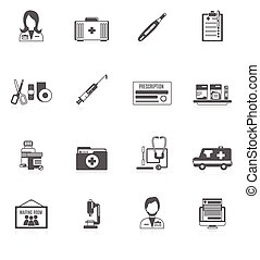Doctor Icon Set - Doctor black icon set with healthcare...