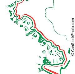 italian map whit symbol on white background