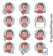 Flat people icons with business characters. Vector...