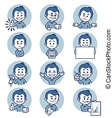 Flat people icons with business characters Vector...