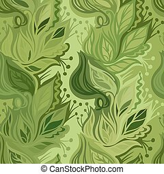 leaves seamless pattern - Spring leaves seamless...