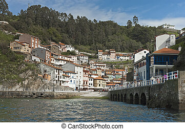 Cudillero as seen from the port, Spain - Cudillero town as...