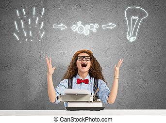 Girl writer - Young emotional girl writer using typing...