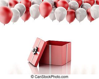 caixa, bexigas, PRESENTE, fundo, branca, abertos, vermelho,...