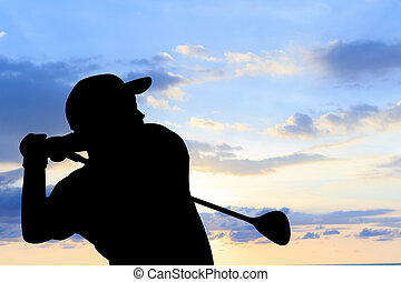 silhouette golfer beautiful sky backlit sunset background