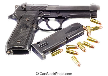 Guns and ammunition on white background - Guns and...