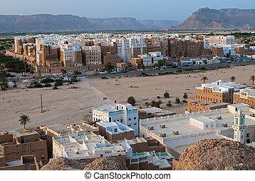 Shibam, Yemen - Panorama of Shibam, a UNESCO World Heritage...