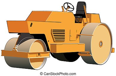 Road roller orange - Three-wheeled orange roller ready for...