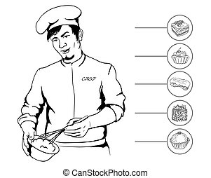 man confectioner during cooking culinary masterpiece vector...