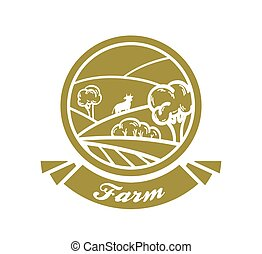 farmland. vector golden illustration on white background