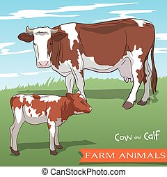 cow and her calf grazing in the meadow - color vector...