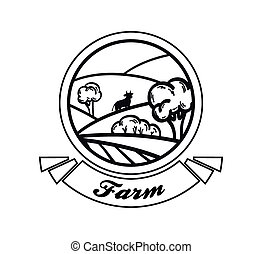 farmland. vector black illustration on white background