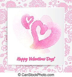 Happy Valentines day card with pattern background. Vector