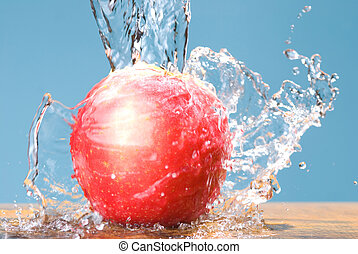 frozen splash and rose color apple - cool water drop on rose...