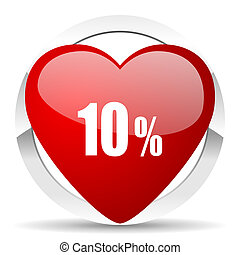 10 percent valentine icon sale sign
