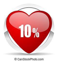 10 percent valentine icon sale sign