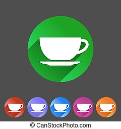 Tea, coffee cup flat icon sign - Tea, coffee cup flat icon...