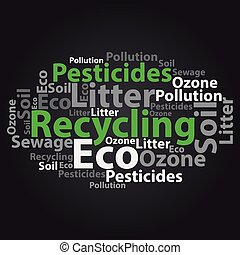 Text cloud Eco wordcloud Tag concept Vector illustration -...