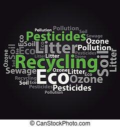 Text cloud. Eco wordcloud. Tag concept. Vector illustration....