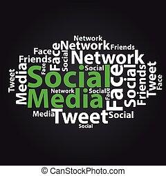 Text cloud. Social media wordcloud. Tag concept. Vector illustration.