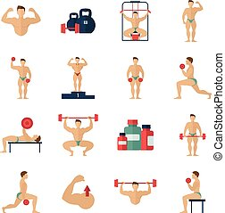 Bodybuilding Icons Set - Bodybuilding fitness gym flat icons...