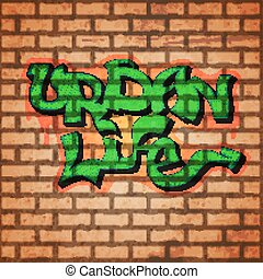 Graffiti wall background - Graffiti concept with brick wall...
