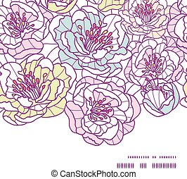 Vector colorful line art flowers horizontal frame seamless...