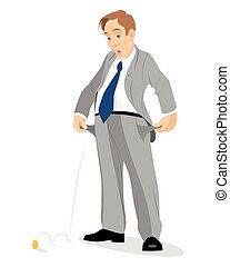 Businessman with empty pockets - Vector illustration of a...