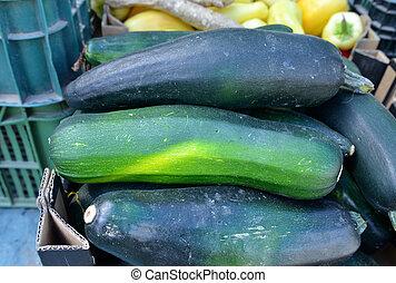 mercado, orgânica, agricultores, venda, fundo, abobrinha