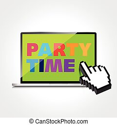 Party time words display on High-quality laptop screen