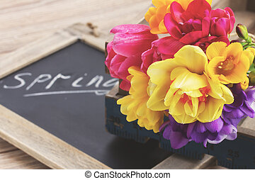 spring letters with flowers