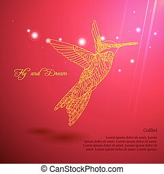 Gold lace colibri flying for dream with sun lights