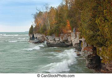 Lake Michigan Shore in Autumn