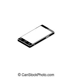 Black smartphone with blank screen, isolated on white...