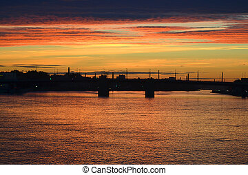 Neva river at sunset, StPetersburg, Russia