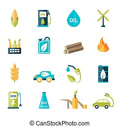 Bio Fuel Icons Set - Bio fuel solar and wind electricity...