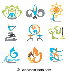 Yoga Emblems Set - Yoga emblems religion spiritual and...