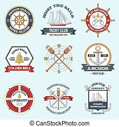 Nautical Labels Set - Nautical labels set with premium...