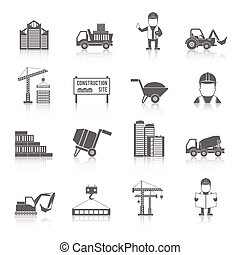 Construction Icons Set - Construction black icons set with...