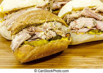 Classic Cuban Medianoche Sandwiches - Close up of Cuban...
