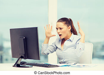 stressed woman with computer - business, office, school,...