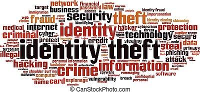 identidad, robo, palabra, nube,