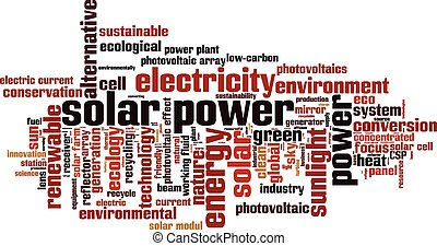Solar power word cloud concept Vector illustration