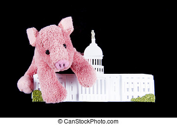 Pork Spending at US Capitol - Pink pig hugging replica of US...