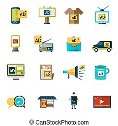 Advertising Icons Set - Advertising multimedia target...