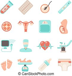 Pregnancy Newborn Icons - Pregnancy newborn icons set with...